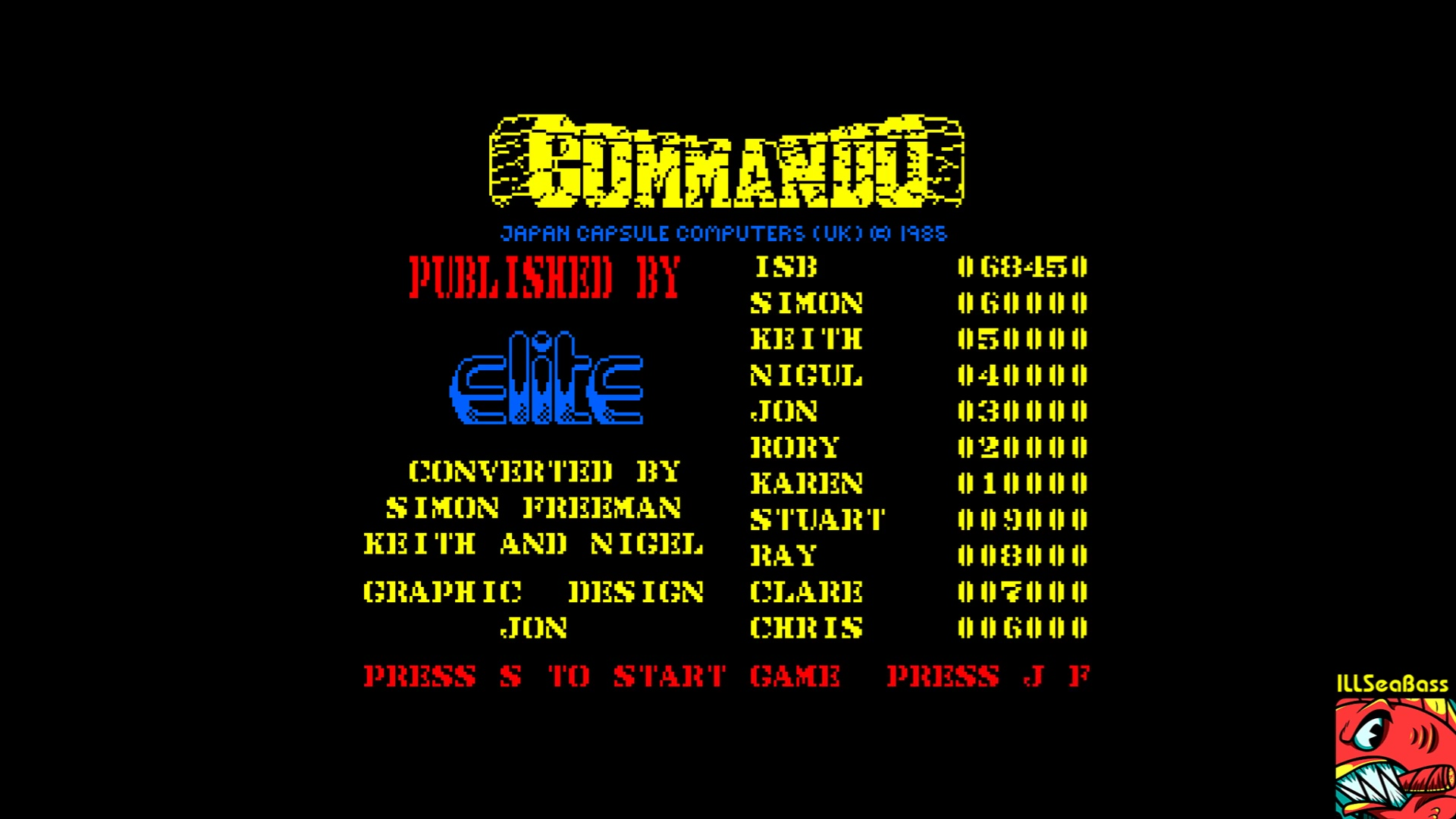 ILLSeaBass: Commando (Amstrad CPC Emulated) 68,450 points on 2017-11-08 19:53:26