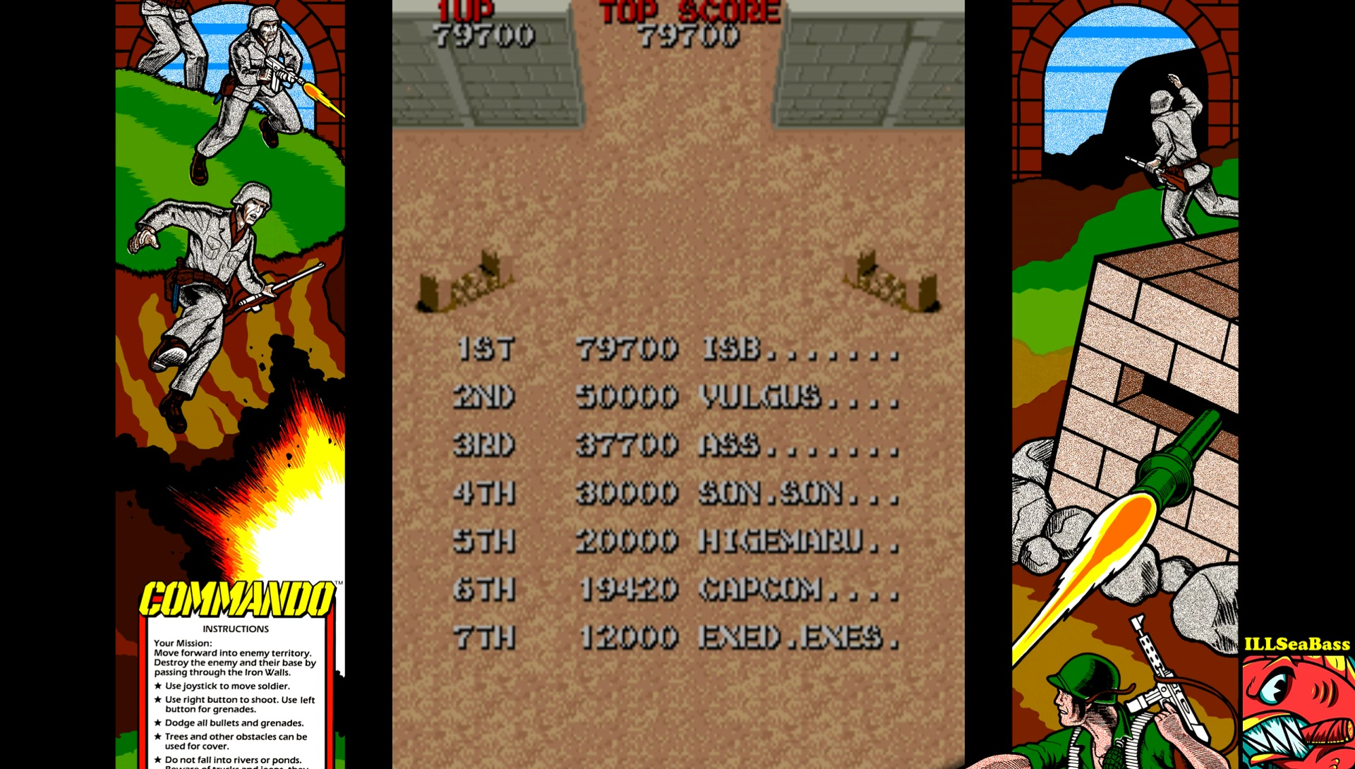 ILLSeaBass: Commando (Arcade Emulated / M.A.M.E.) 79,700 points on 2017-05-22 11:59:35