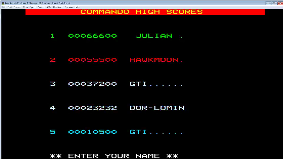 GTibel: Commando (BBC Micro Emulated) 37,200 points on 2016-07-03 10:26:40
