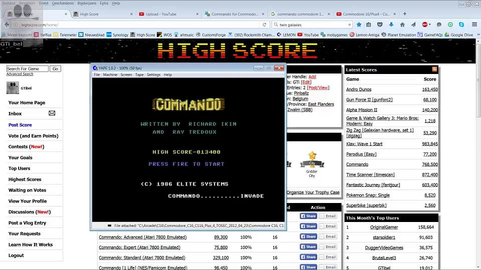 GTibel: Commando (Commodore 16/Plus4 Emulated) 13,400 points on 2016-07-13 00:48:53