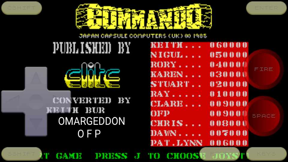 omargeddon: Commando (ZX Spectrum Emulated) 9,000 points on 2016-10-19 10:59:26