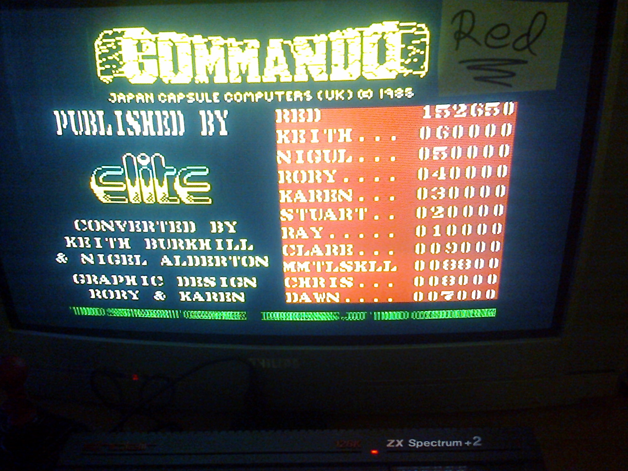 red: Commando (ZX Spectrum) 152,650 points on 2016-10-29 08:22:13