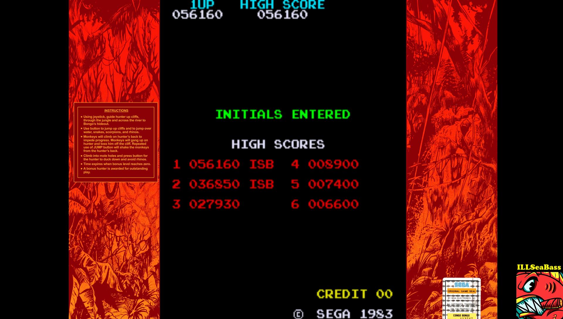 ILLSeaBass: Congo Bongo (Arcade Emulated / M.A.M.E.) 56,160 points on 2017-01-21 23:09:31