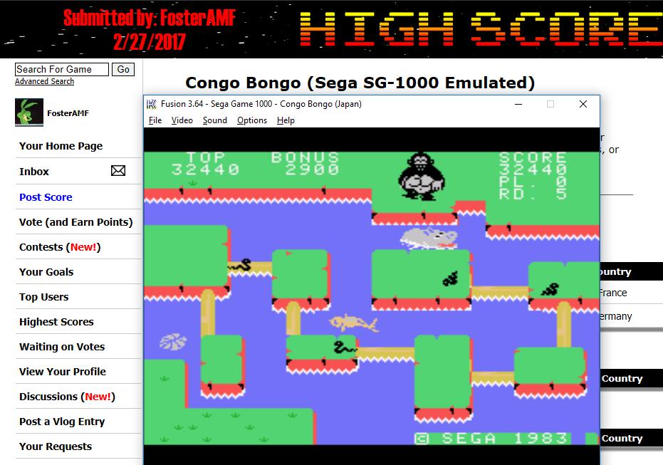 FosterAMF: Congo Bongo (Sega SG-1000 Emulated) 32,440 points on 2017-02-27 13:00:26