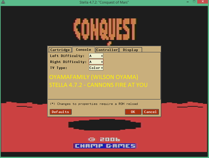 oyamafamily: Conquest of Mars (Atari 2600 Emulated Expert/A Mode) 2,000 points on 2016-07-16 12:47:18