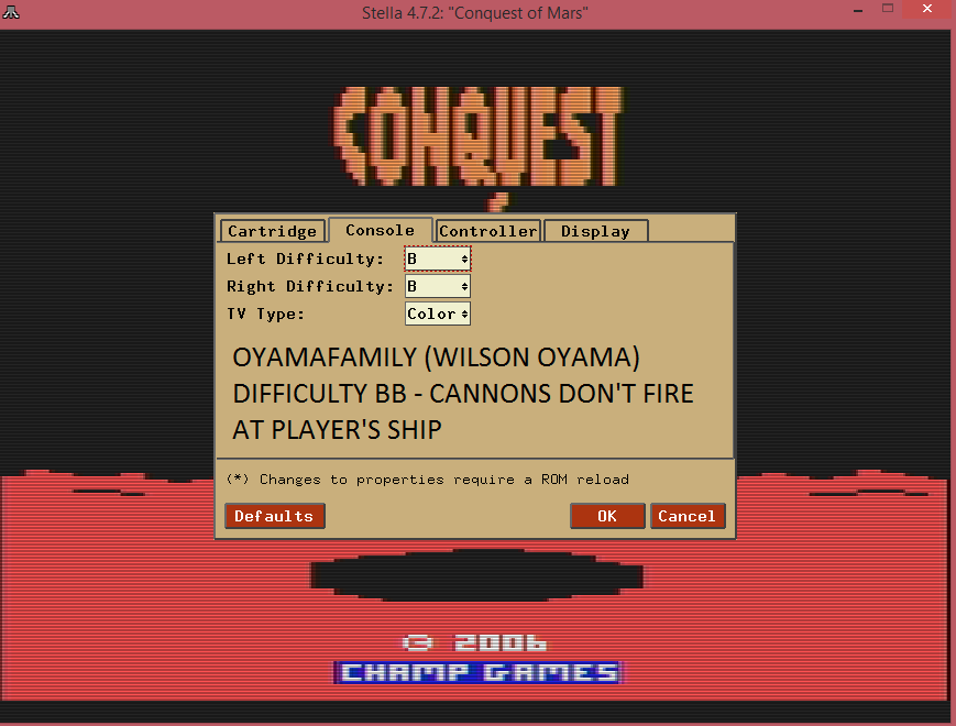 oyamafamily: Conquest of Mars: Pilot (Atari 2600 Emulated Novice/B Mode) 6,000 points on 2016-07-17 11:57:20