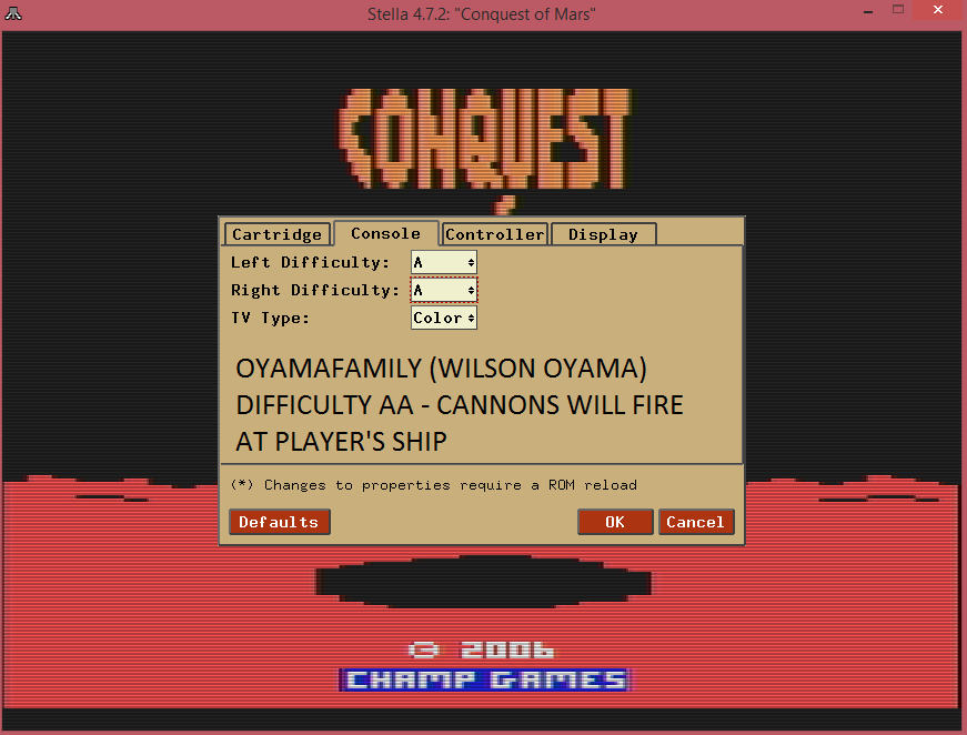 oyamafamily: Conquest of Mars: Warrior (Atari 2600 Emulated Expert/A Mode) 1,250 points on 2016-07-17 12:00:59