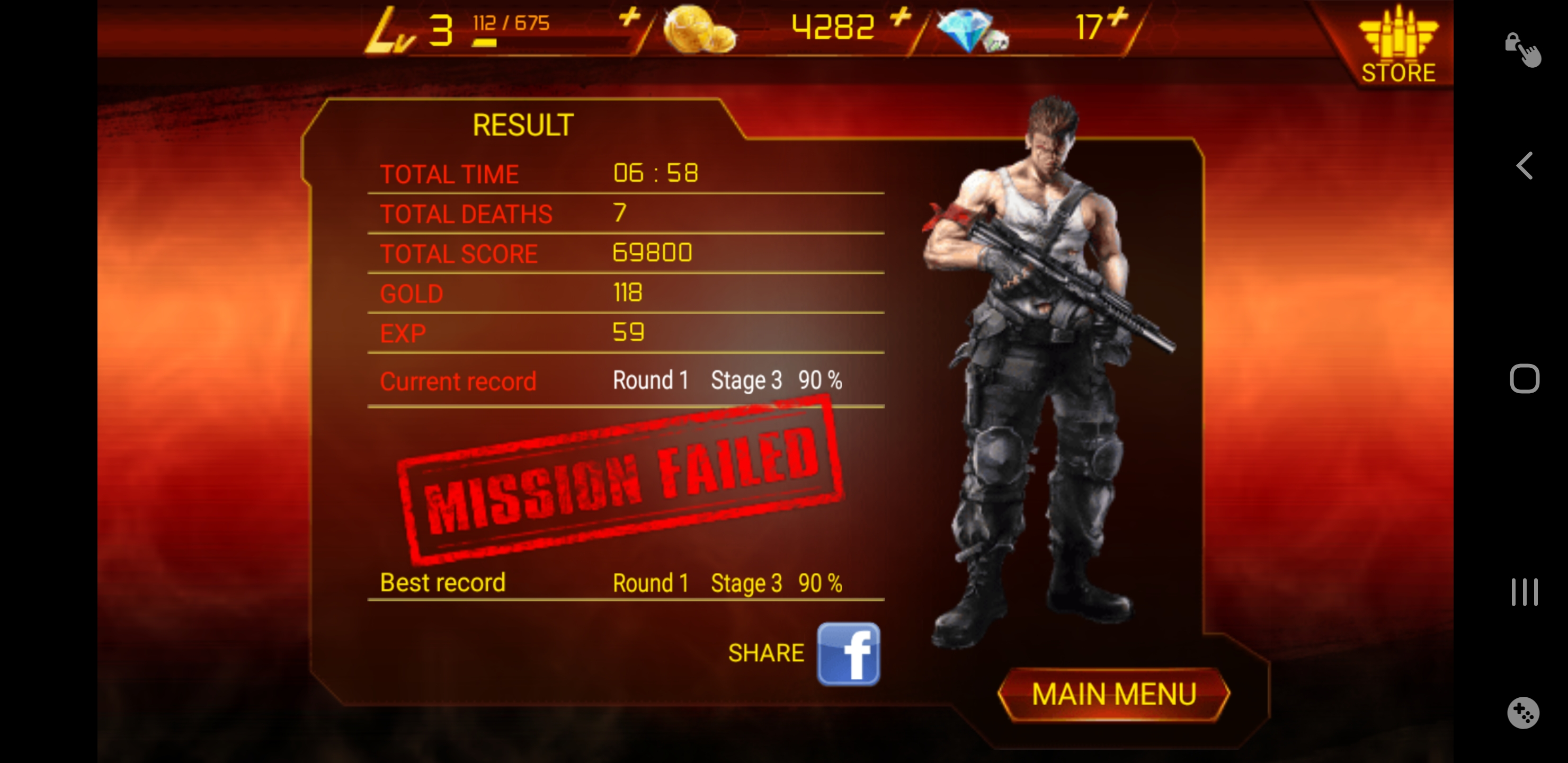 JES: Contra: Evolution (Android) 69,800 points on 2019-12-24 01:45:09