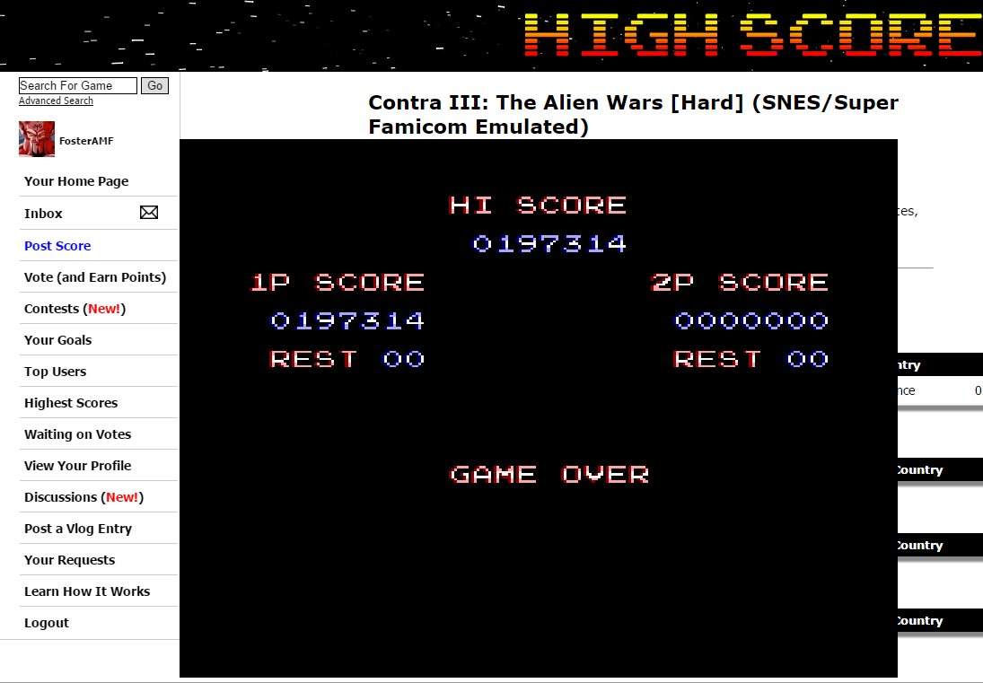 FosterAMF: Contra III: The Alien Wars [Hard] (SNES/Super Famicom Emulated) 197,314 points on 2016-08-03 02:41:38