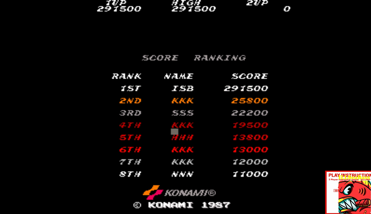 ILLSeaBass: Contra [contra] (Arcade Emulated / M.A.M.E.) 291,500 points on 2017-01-11 21:38:16