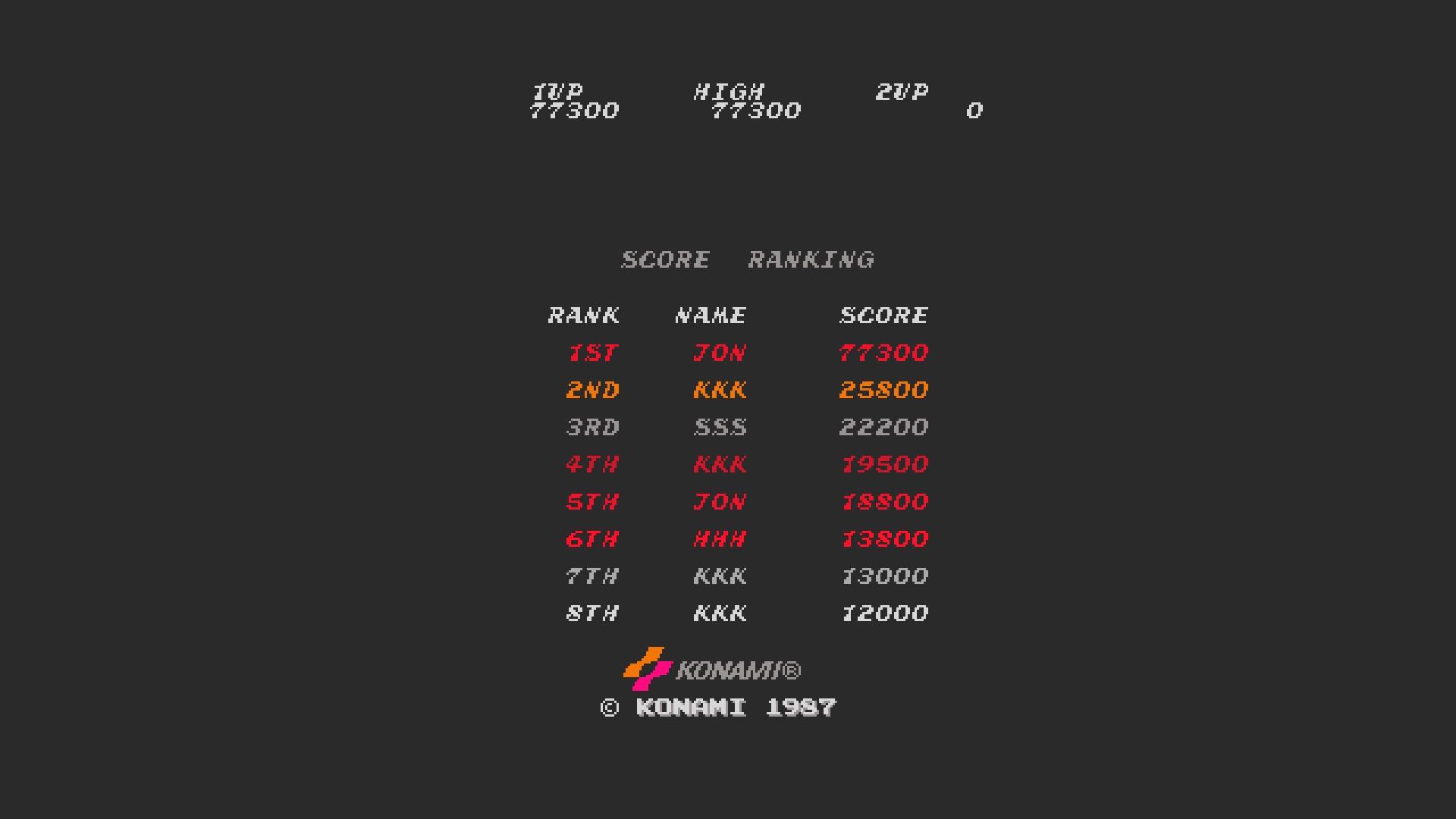 AkinNahtanoj: Contra [contra] (Arcade Emulated / M.A.M.E.) 77,300 points on 2020-08-18 14:26:35