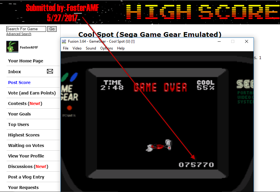 FosterAMF: Cool Spot (Sega Game Gear Emulated) 75,770 points on 2017-05-27 15:51:57