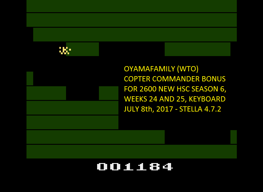 oyamafamily: Copter Commander (Atari 2600 Emulated) 1,184 points on 2017-07-09 15:31:53