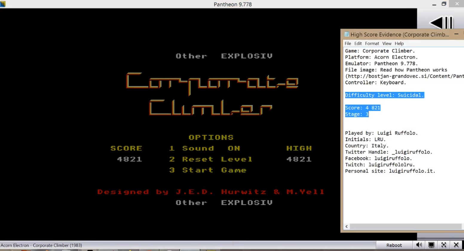 LuigiRuffolo: Corporate Climber [Suicidal] (Acorn Electron Emulated) 4,821 points on 2020-07-30 06:34:24