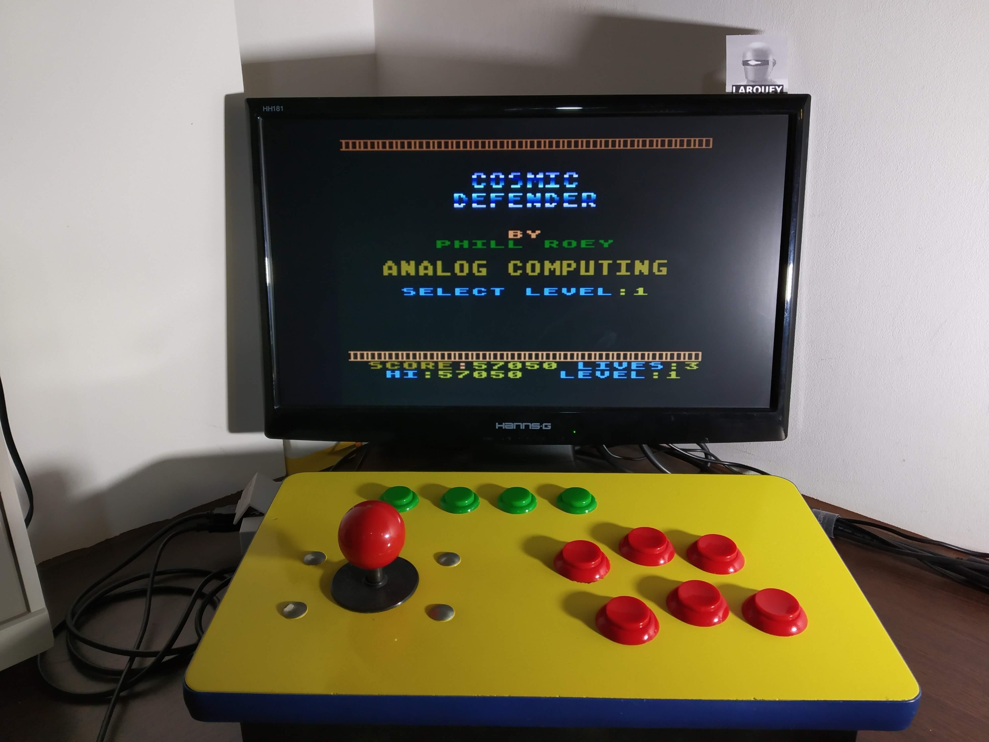 Larquey: Cosmic Defender: Level  1 (Atari 400/800/XL/XE Emulated) 57,050 points on 2020-01-06 11:11:14
