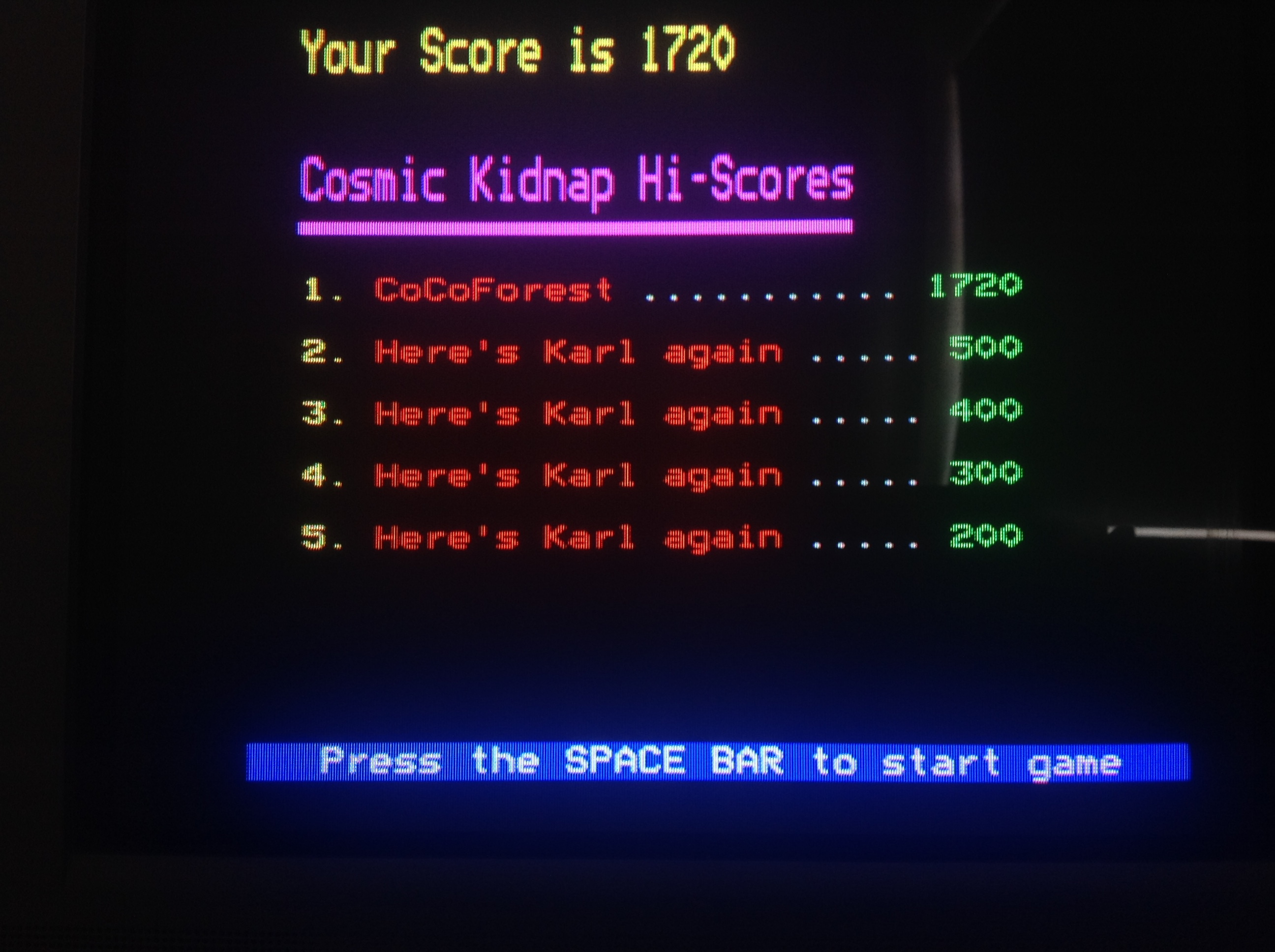CoCoForest: Cosmic Kidnap (BBC Micro) 1,720 points on 2018-07-10 06:43:07