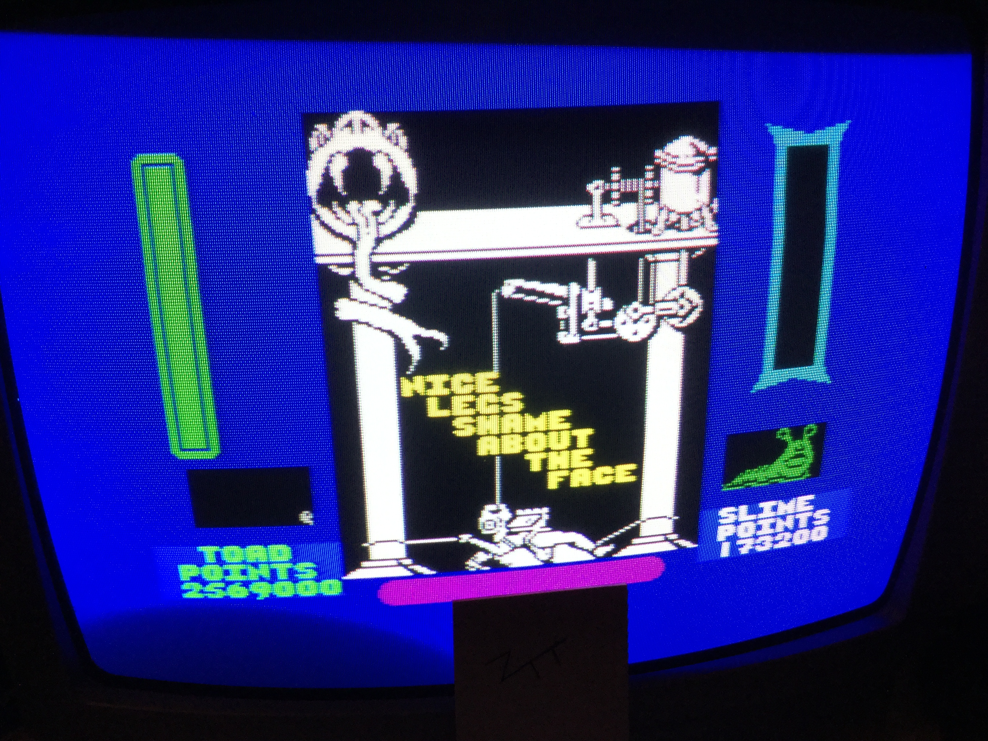Frankie: Cosmic Wartoad [Toad Points - Slime Points] [1,000,000 Points Completion Bonus] (ZX Spectrum) 2,395,800 points on 2019-05-24 17:42:37