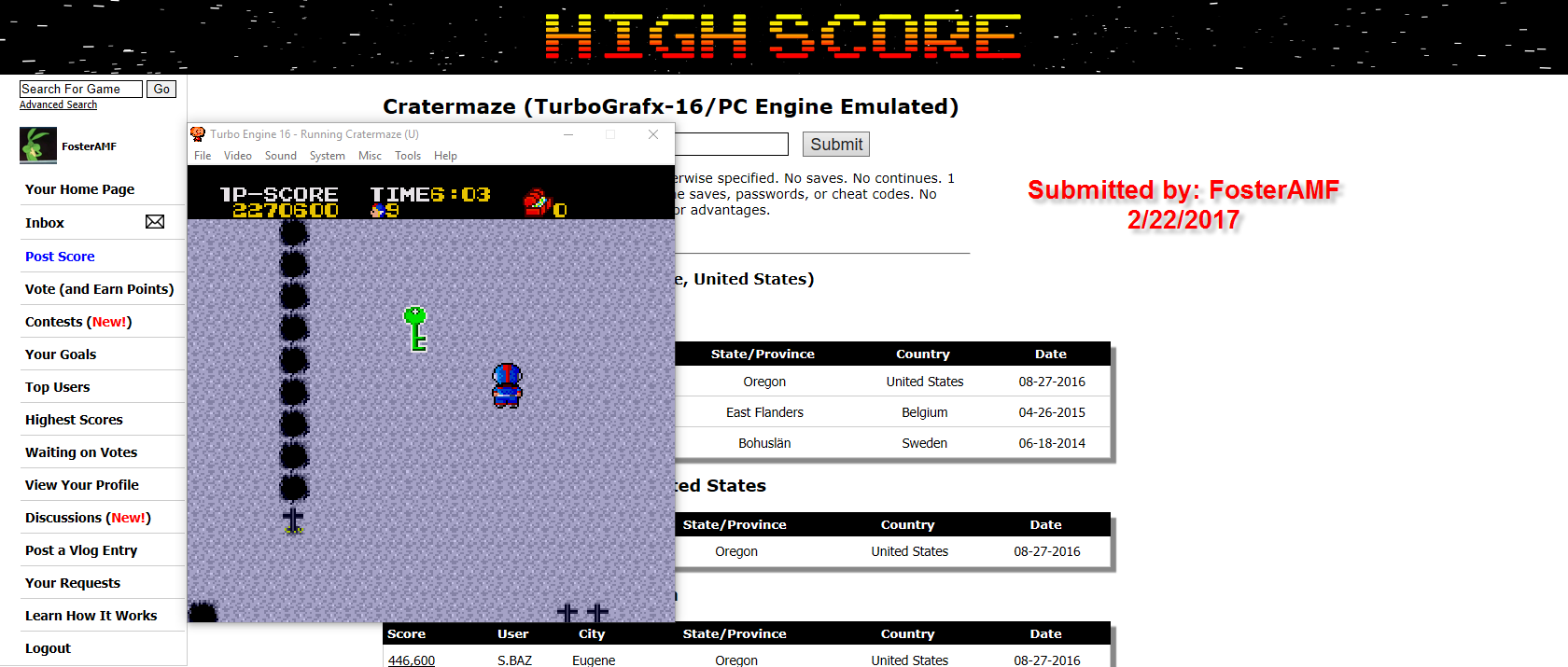 FosterAMF: Cratermaze (TurboGrafx-16/PC Engine Emulated) 2,300,600 points on 2017-02-22 20:40:43