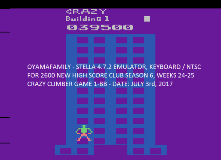 oyamafamily: Crazy Climber (Atari 2600 Emulated Novice/B Mode) 39,500 points on 2017-07-30 19:39:06