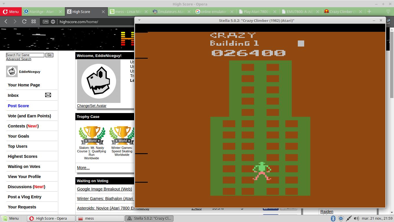 EddieNiceguy: Crazy Climber (Atari 2600 Emulated Novice/B Mode) 26,400 points on 2017-11-21 15:11:13