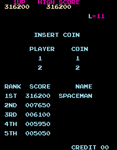 QSpaceman: Crazy Kong (Arcade Emulated / M.A.M.E.) 316,200 points on 2016-03-28 13:40:49