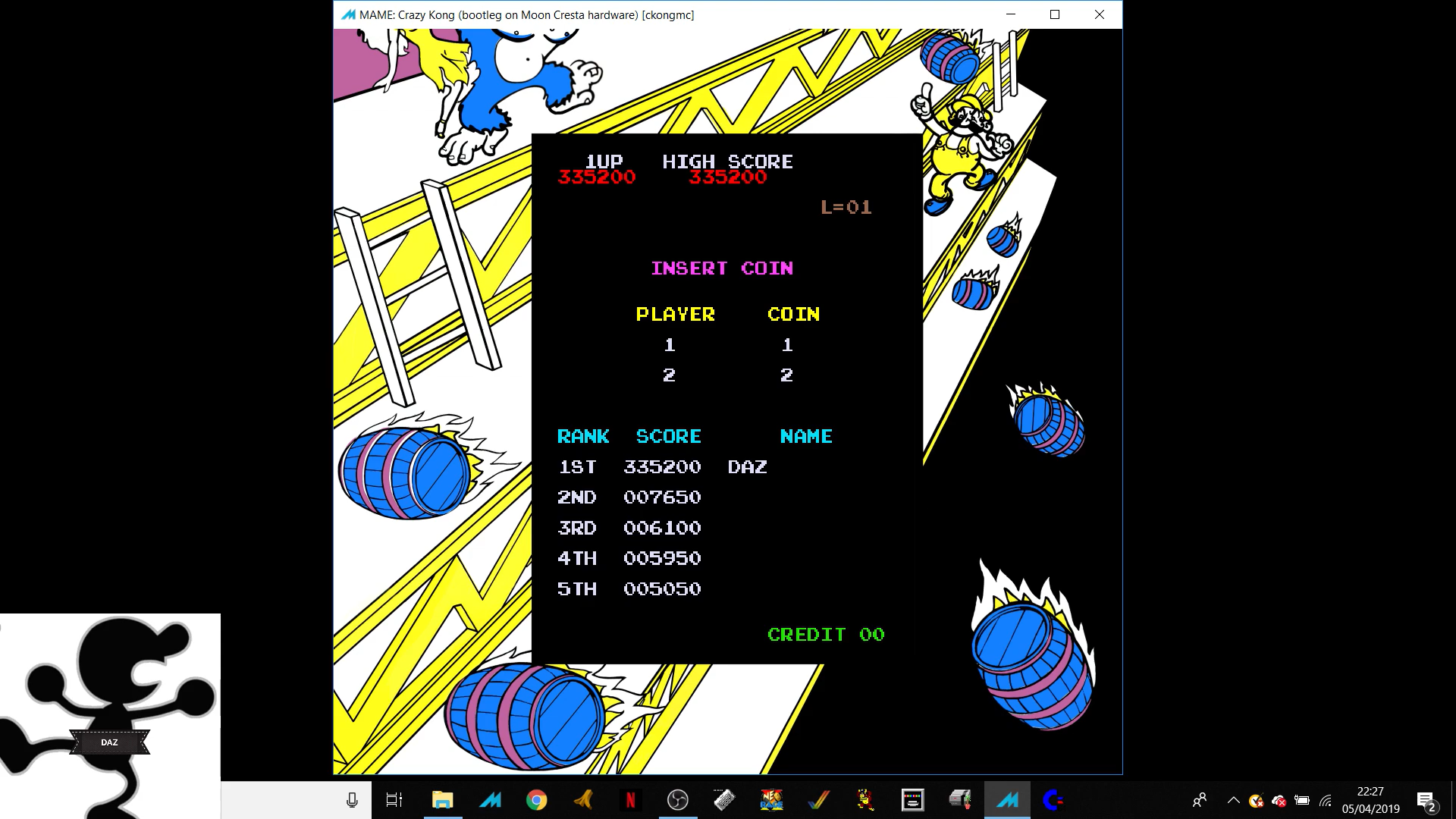 Ivanstorm1973: Crazy Kong [Moon Cresta Hardware] [ckongmc] (Arcade Emulated / M.A.M.E.) 335,200 points on 2019-05-19 05:01:25