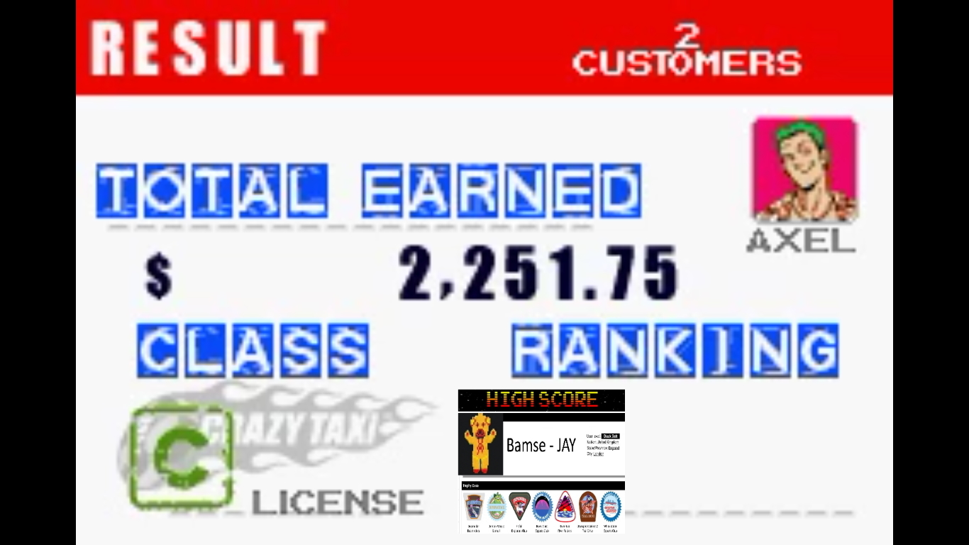 Bamse: Crazy Taxi: Catch A Ride: City 1 [Normal Rules] (GBA Emulated) 2,252 points on 2019-10-31 18:43:08