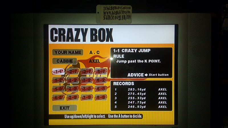 ichigokurosaki1991: Crazy Taxi: Crazy Box 1-1: Crazy Jump (Dreamcast) 283 points on 2016-05-18 23:36:24