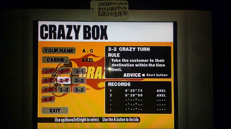 ichigokurosaki1991: Crazy Taxi: Crazy Box 2-2: Crazy Turn (Dreamcast) 0:00:26.75 points on 2016-05-18 23:43:45