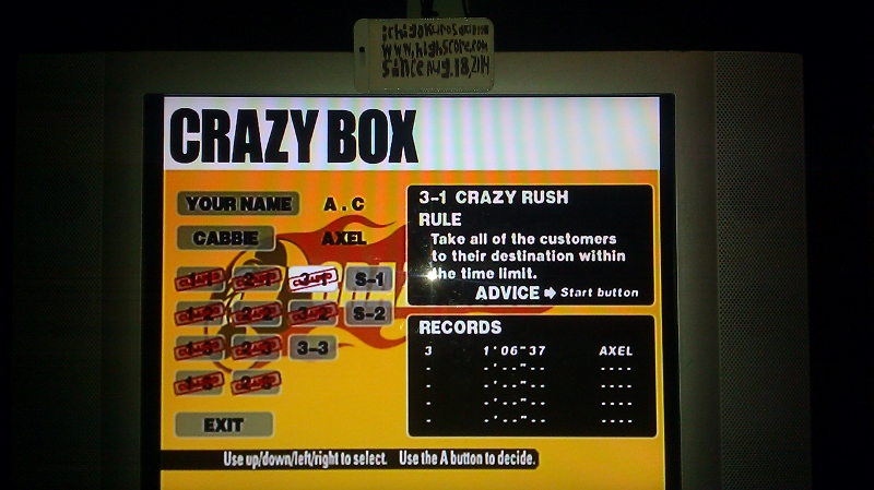 Crazy Taxi: Crazy Box 3-1: Crazy Rush time of 0:01:06.37