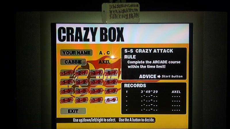 Crazy Taxi: Crazy Box: S-S: Crazy Attack time of 0:03:49.29