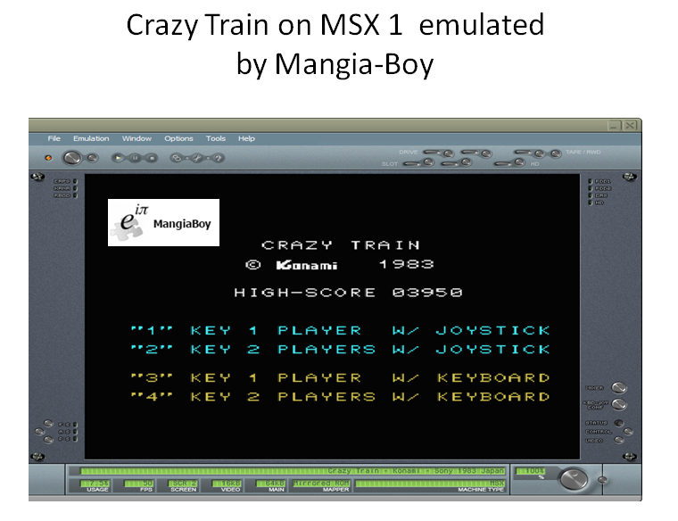 MangiaBoy: Crazy Train (MSX Emulated) 3,950 points on 2017-02-04 11:55:47