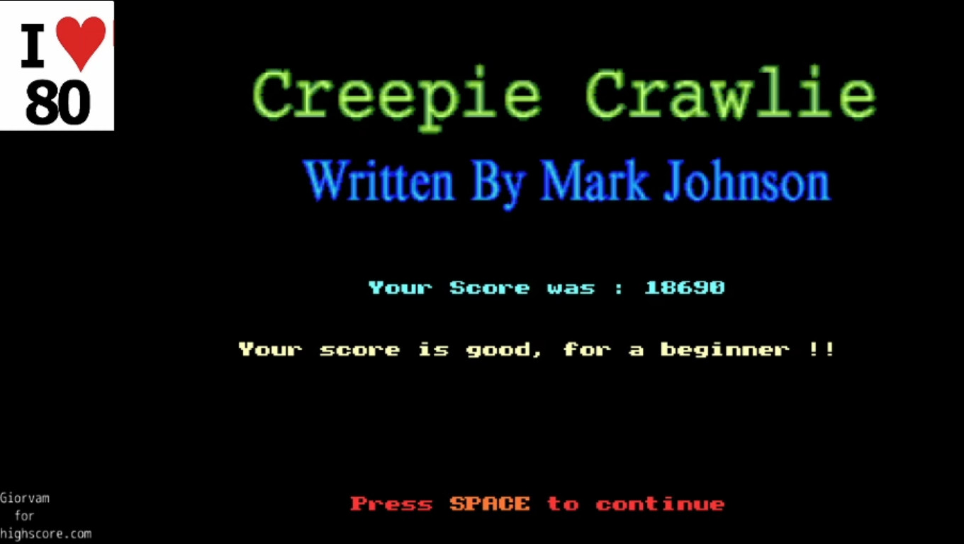 Giorvam: Creepie Crawlie (Acorn Archimedes Emulated) 18,690 points on 2019-12-18 14:31:43