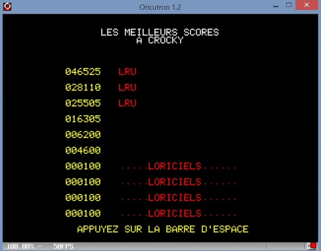 LuigiRuffolo: Crocky (Oric-1 Emulated) 46,525 points on 2021-03-02 11:51:27