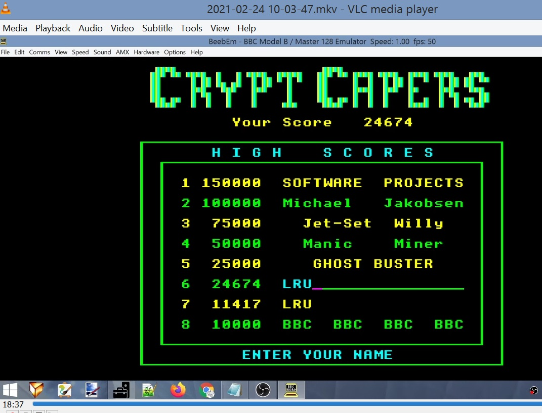 LuigiRuffolo: Crypt Capers (BBC Micro Emulated) 24,674 points on 2021-02-24 03:45:37