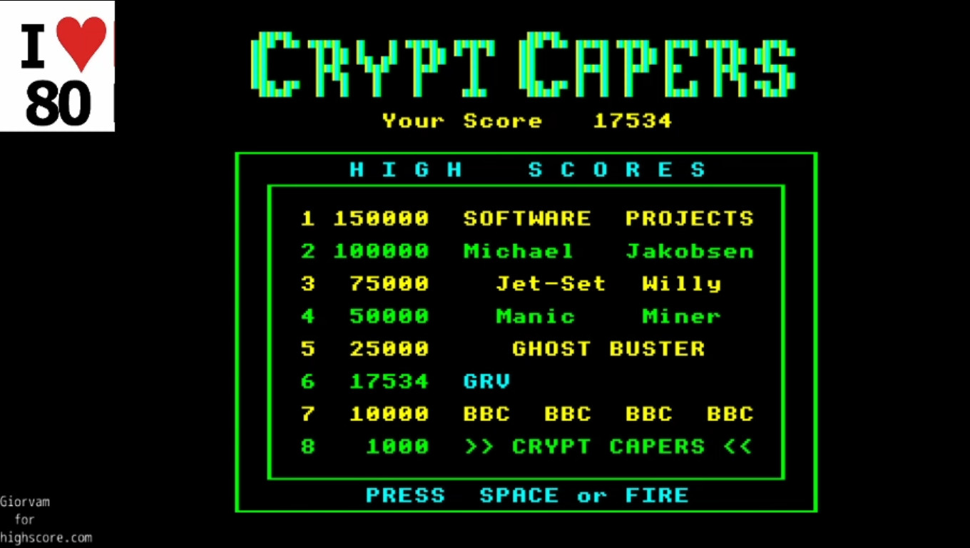 Giorvam: Crypt Capers (BBC Micro Emulated) 17,534 points on 2019-12-28 04:26:27