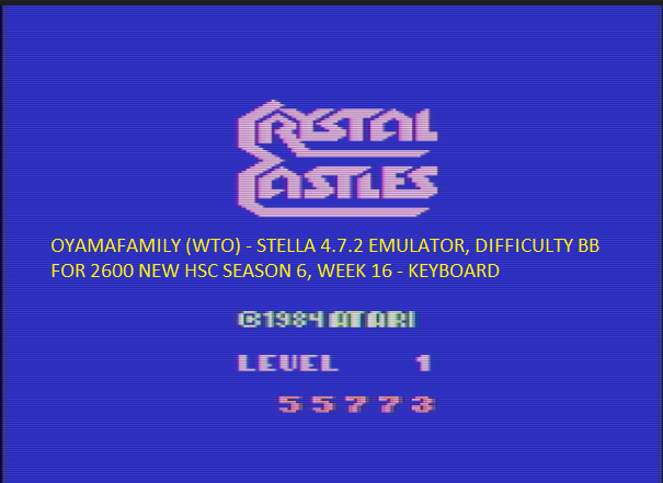 oyamafamily: Crystal Castles (Atari 2600 Emulated Novice/B Mode) 55,773 points on 2017-05-15 18:57:18