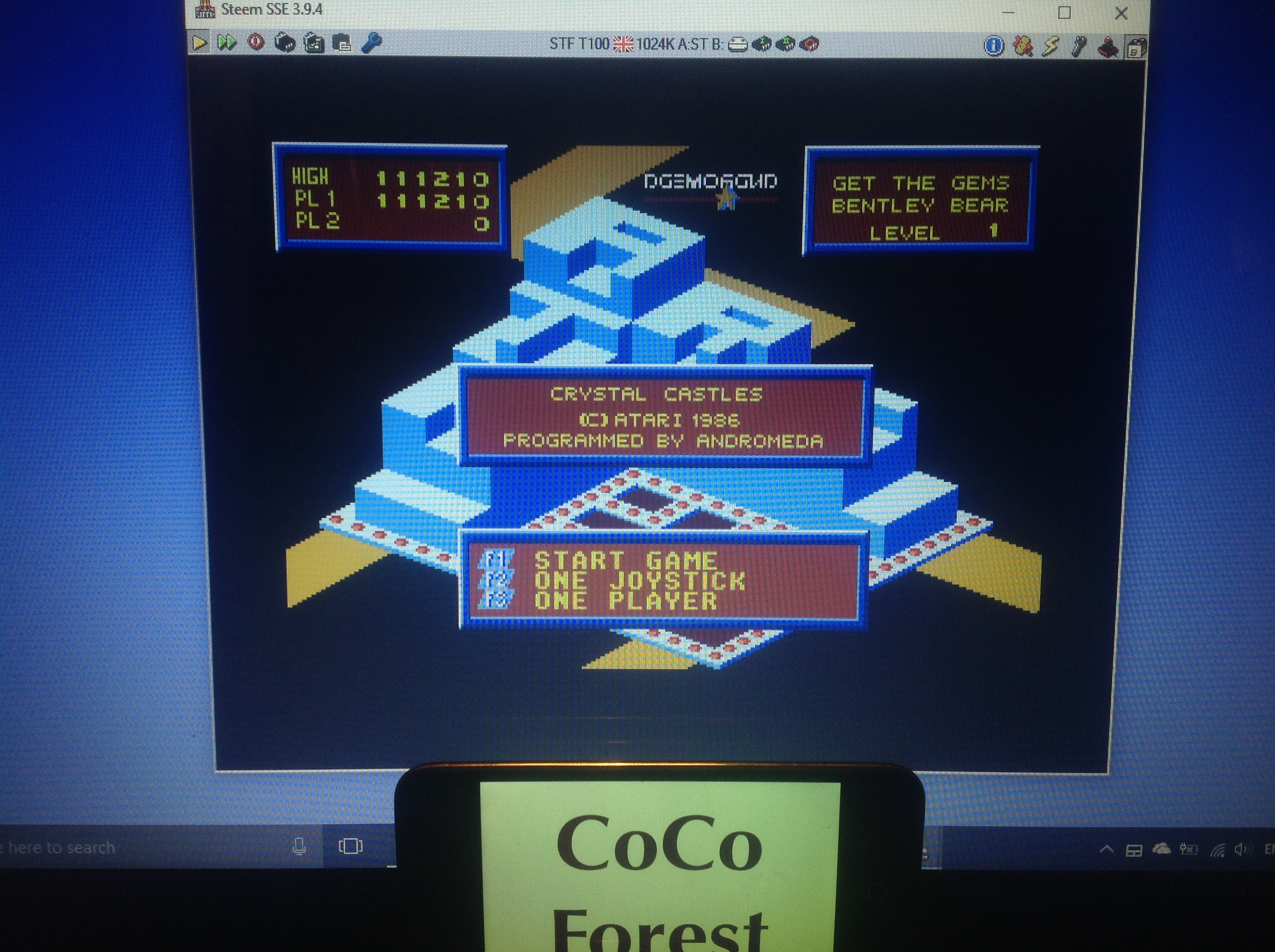 CoCoForest: Crystal Castles (Atari ST Emulated) 111,210 points on 2018-01-29 13:10:04