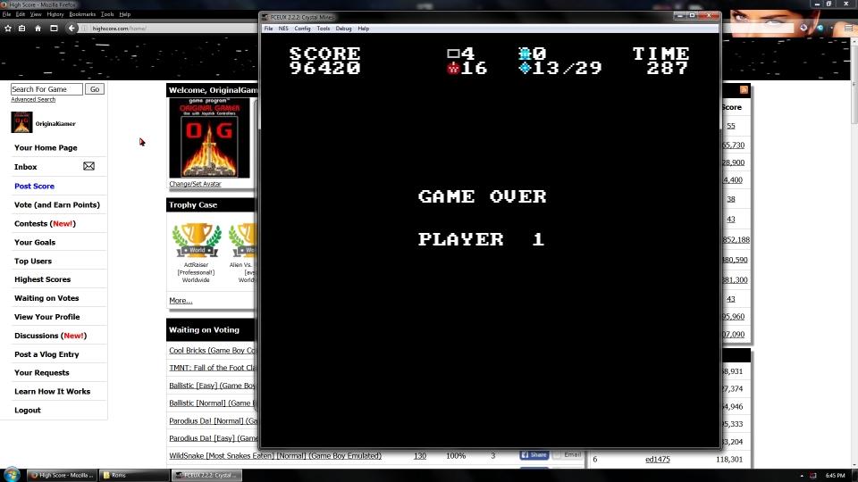 OriginalGamer: Crystal Mines (NES/Famicom Emulated) 96,420 points on 2016-07-15 15:51:26