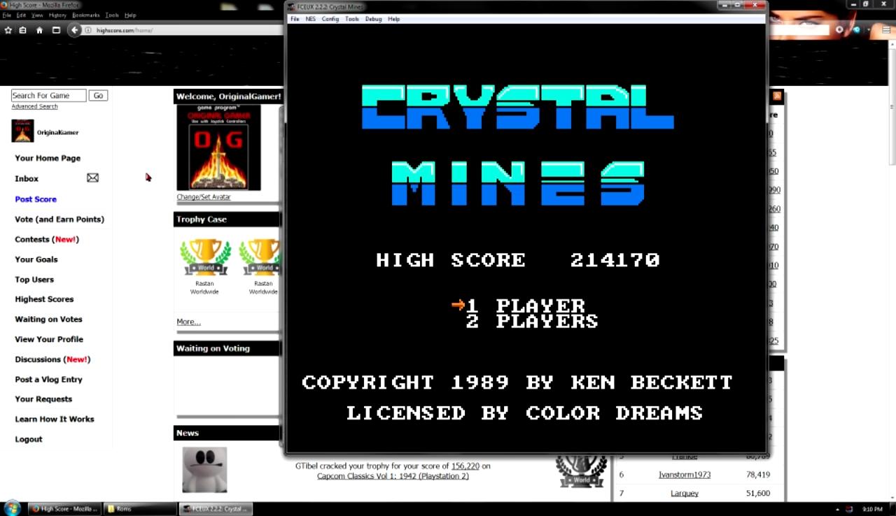 OriginalGamer: Crystal Mines (NES/Famicom Emulated) 214,170 points on 2017-10-29 23:22:47