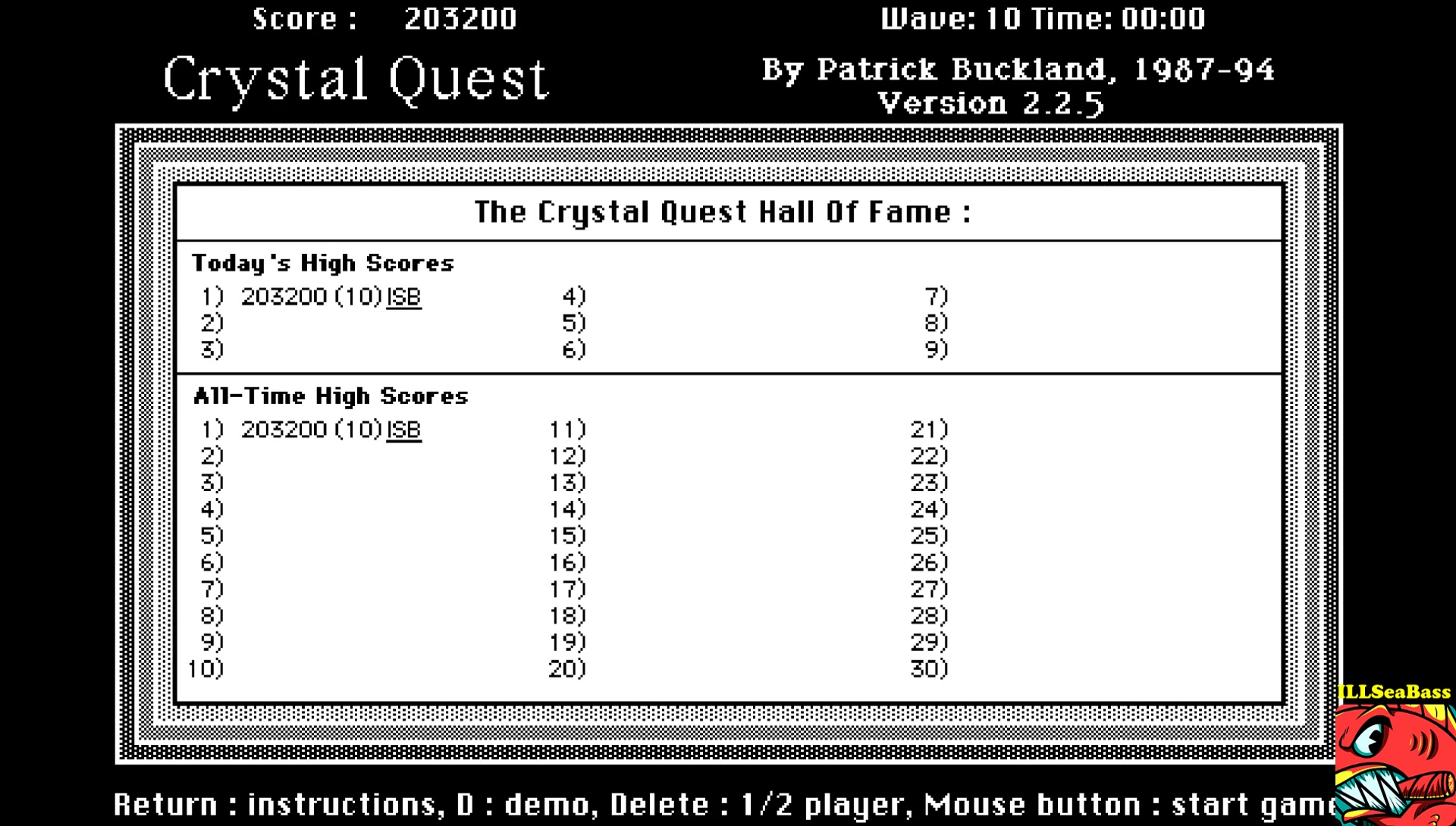 ILLSeaBass: Crystal Quest (Mac OS Emulated) 203,200 points on 2017-05-20 21:36:08
