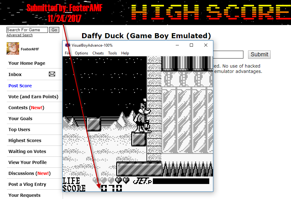 FosterAMF: Daffy Duck (Game Boy Emulated) 70 points on 2017-11-24 15:09:55