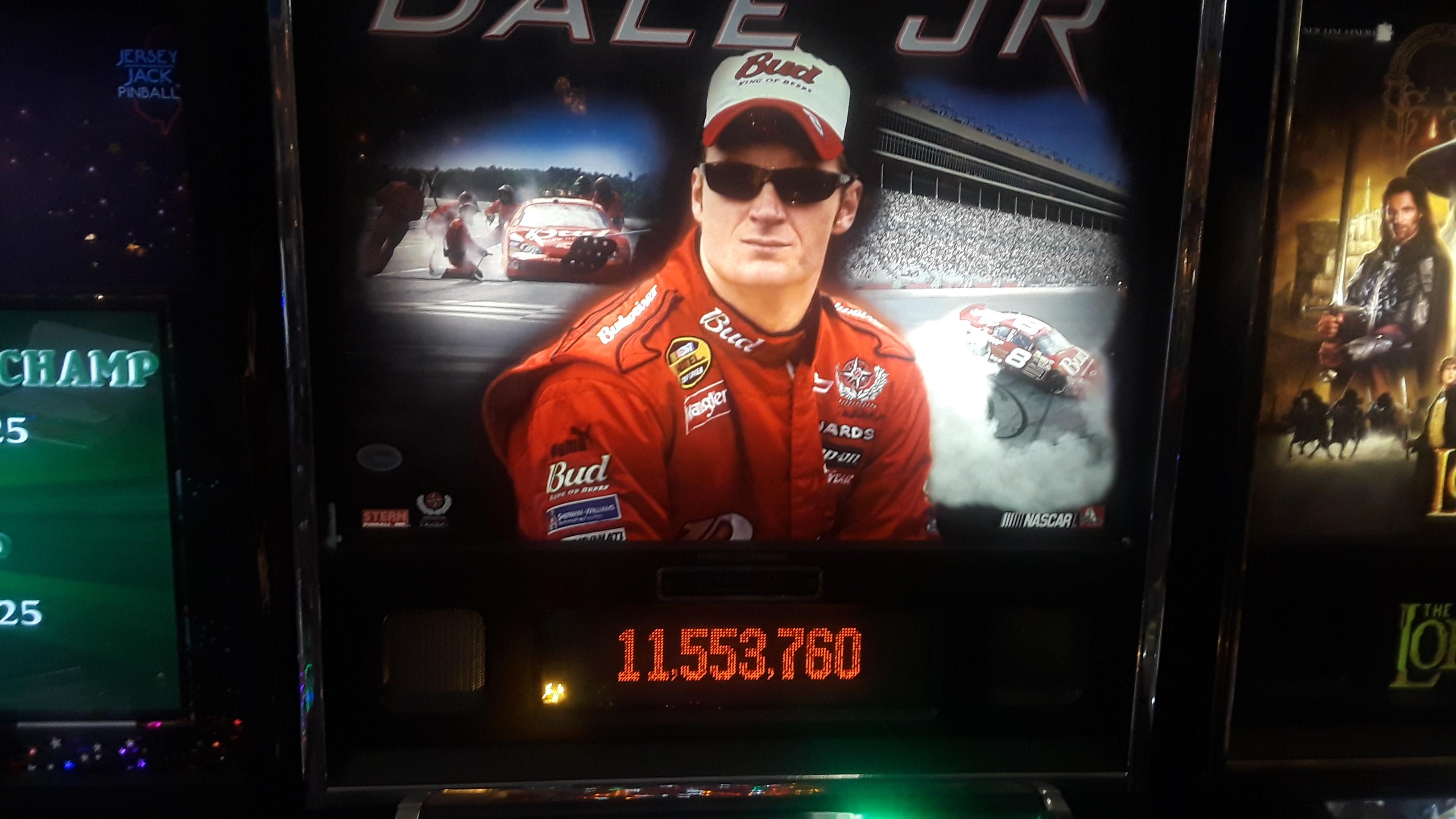 JML101582: Dale Jr. (Pinball: 3 Balls) 11,553,160 points on 2019-11-23 19:39:45