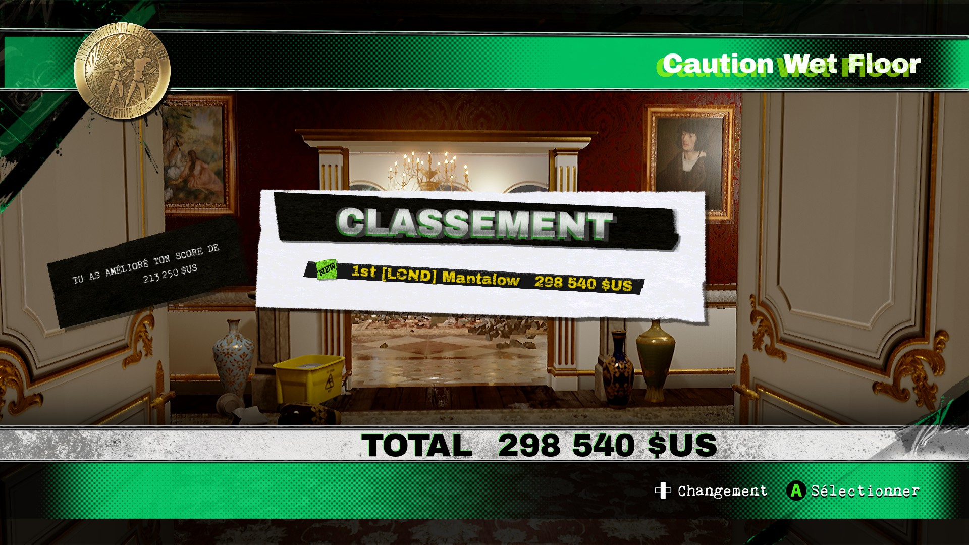 Dangerous Golf: France: Hall of Mirrors: Caution Wet Floor 298,540 points