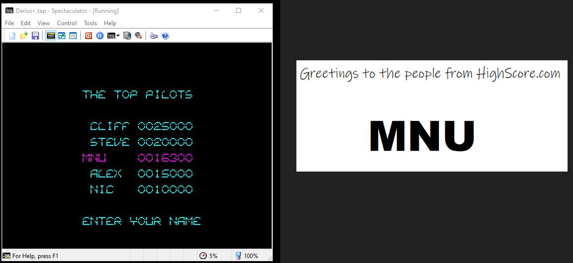 hughes10: Darius+ (ZX Spectrum Emulated) 16,300 points on 2020-07-15 14:07:39