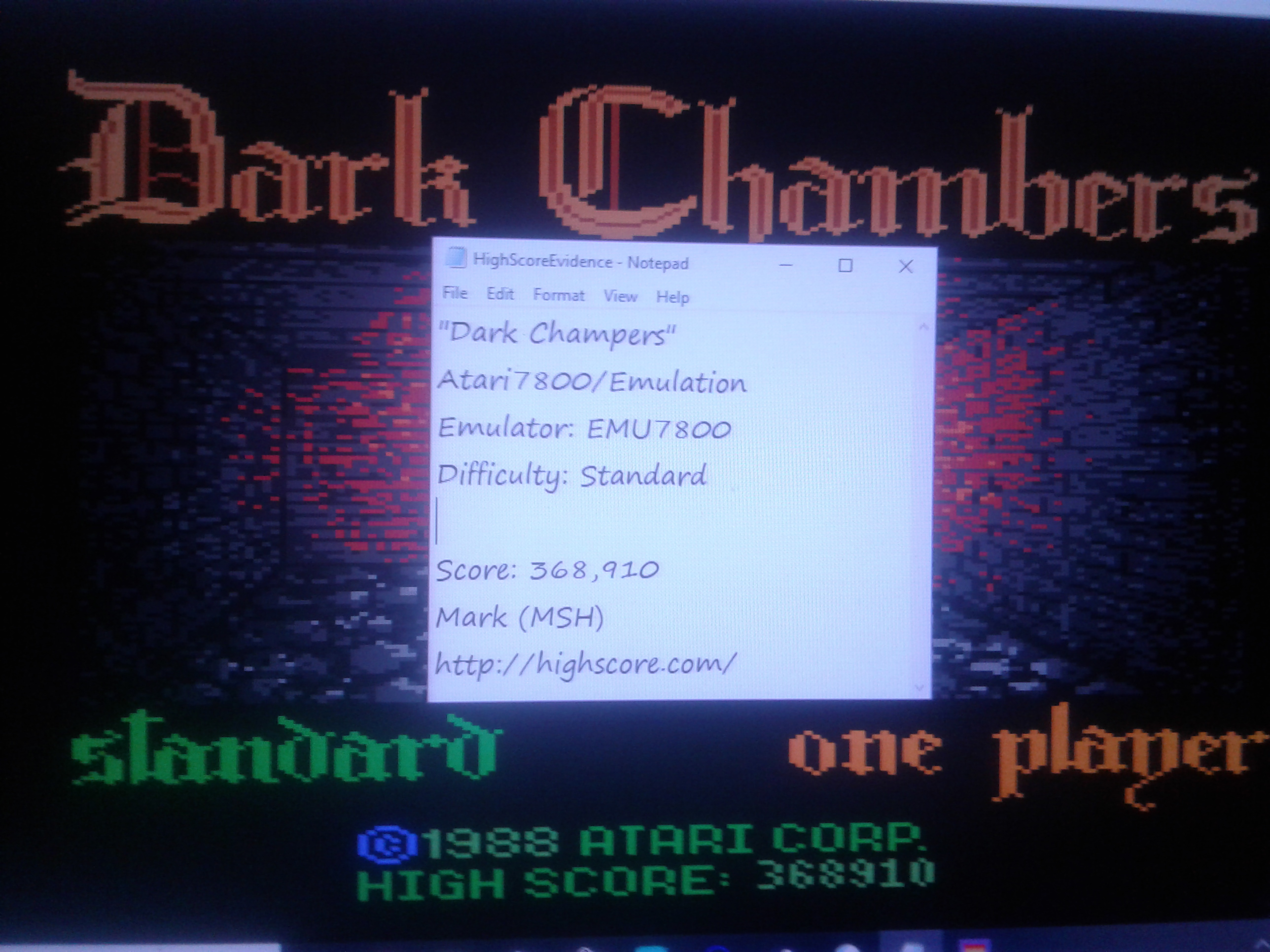 Mark: Dark Chambers: Standard (Atari 7800 Emulated) 368,910 points on 2019-01-20 04:22:02