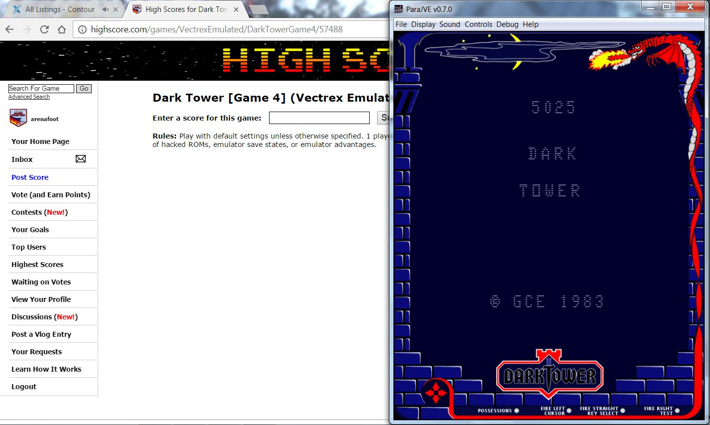 arenafoot: Dark Tower [Game 4] (Vectrex Emulated) 5,025 points on 2016-11-24 11:38:46