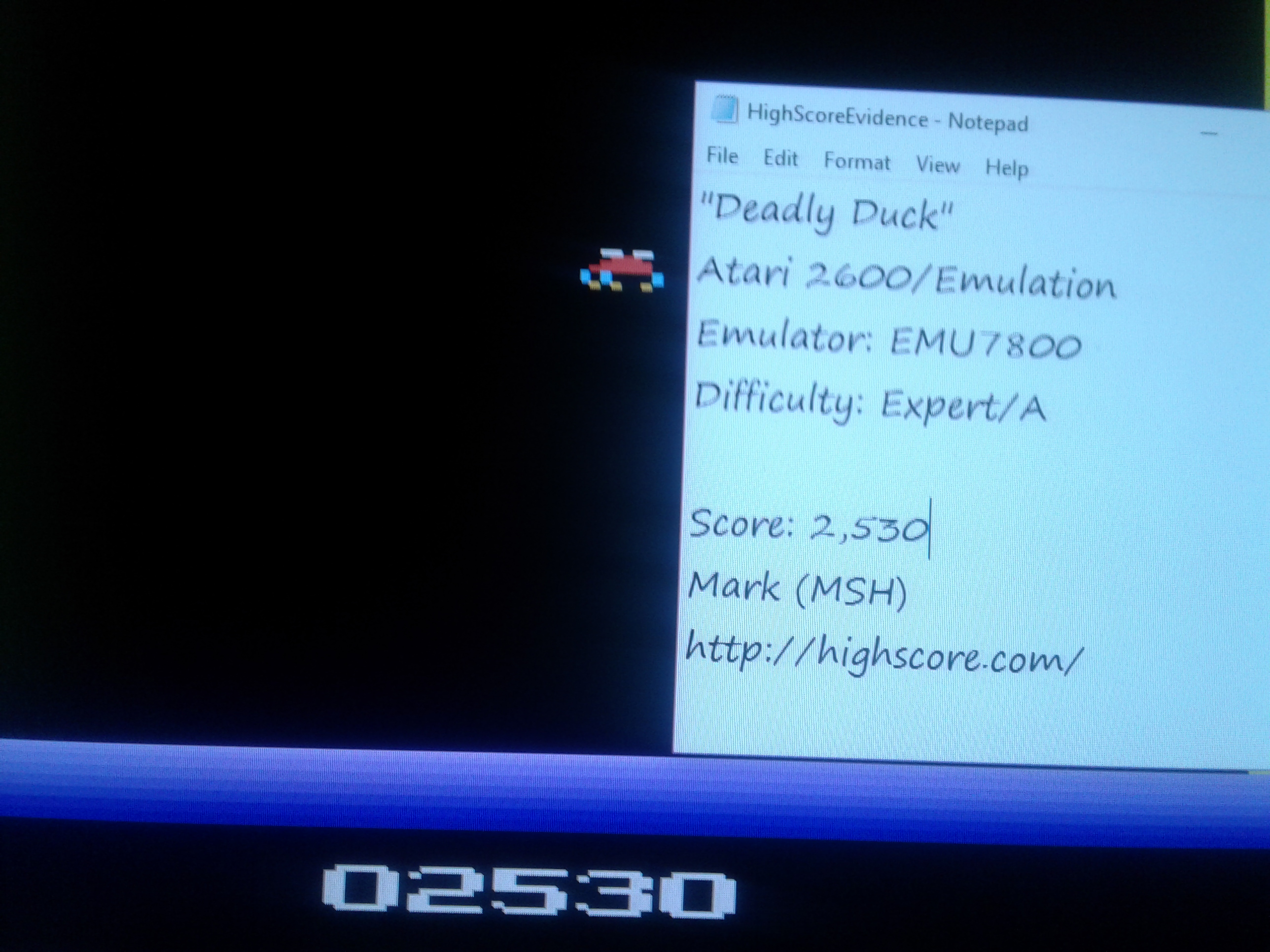 Mark: Deadly Duck (Atari 2600 Emulated Expert/A Mode) 2,530 points on 2019-01-27 00:32:19