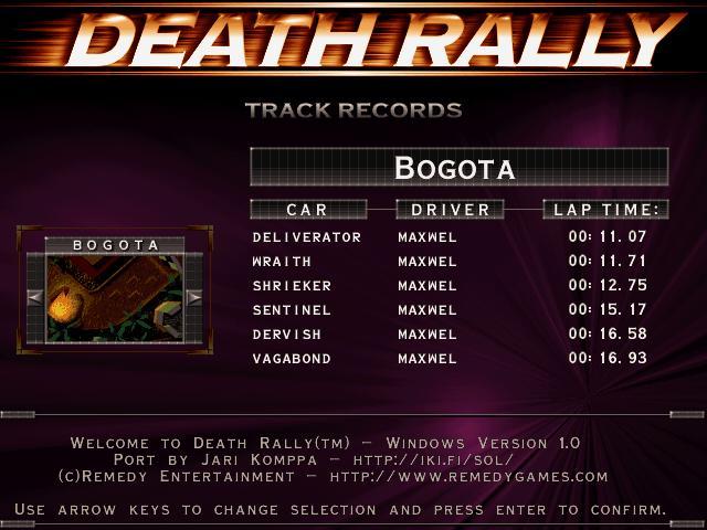 Maxwel: Death Rally [Bogota, Dervish Car Car] (PC) 0:00:16.58 points on 2016-03-04 03:49:52