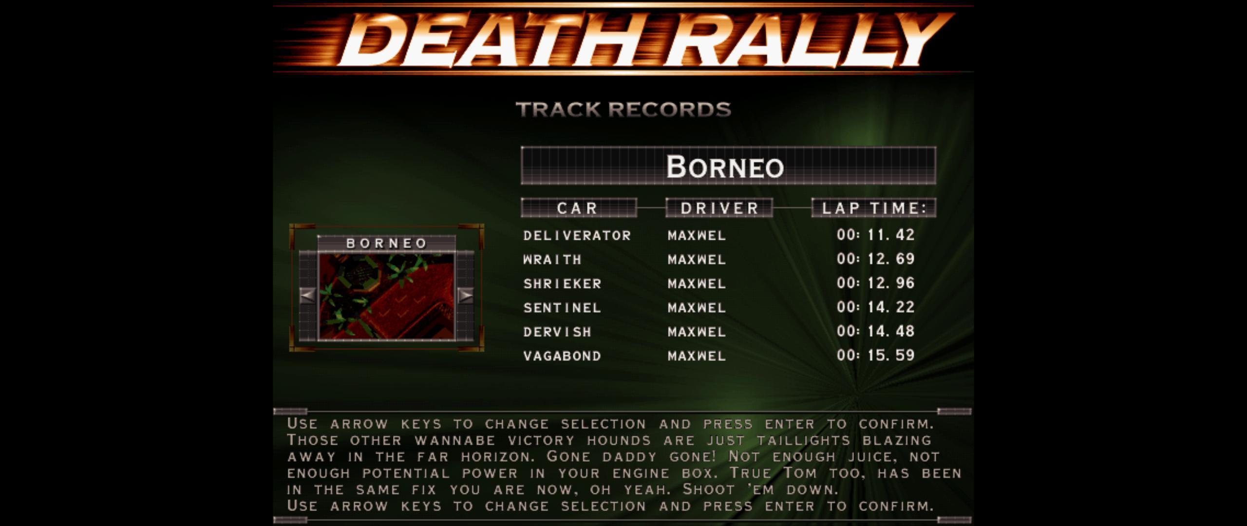 Maxwel: Death Rally [Borneo, Deliverator Car] (PC) 0:00:11.42 points on 2016-03-04 07:57:24